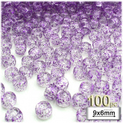 The Crafts Outlet 100-Piece Round Plastic Transparent Pony Beads, 6 by 9mm, Purple Glitter