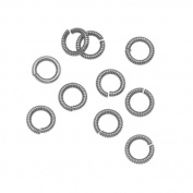Nunn Design Antiqued Silver Plated Open Jump Rings Etched 6.5mm 17 Gauge