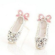 1 PAIR OF Rhinestone Ballet Shoe Earring Studs