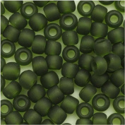 Toho Round Seed Beads 6/0 #940F 'Transparent Frosted Olivine' 8 Gramme Tube