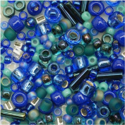 Toho Multi-Shape Glass Beads 'Mahou' Blue/Green Colour Mix 8 Gramme Tube