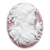 Vintage Style Oval Cameo - Frosted Ruby With White Grecian Woman 40x30mm