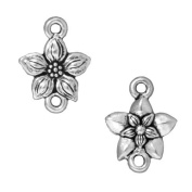 Fine Silver Plated Pewter Star Jasmine Flower Connector Links 16mm
