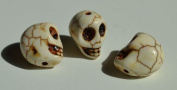 5 Bone White Howlite Skull Beads (Loose) - Day of the Dead
