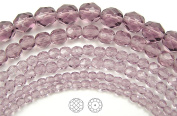 Choose a Size, Light Amethyst, Czech Fire Polished Round Faceted Glass Beads, 41cm strand