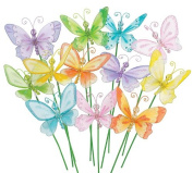 Set of 12 Two Style Assorted Colourful Butterfly Floral Picks