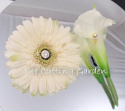 TCG Floral White Corsage Bracelet and Boutonniere Special Occasion Set