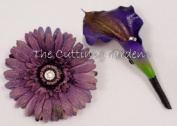 TCG Floral Purple Corsage Bracelet and Boutonniere Special Occasion Set
