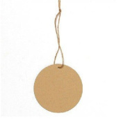Pack of 50 Round Paper Kraft Brown Tag with 50 Strings