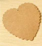 50 Heart Gift Brown Tag with 50 Brown Strings Wedding Kraft Hang Tag