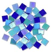 1.9cm Glass Tile Iridized Blues Mix - 1/2 Lb.