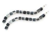 Silver Square Disc Bracelets - 2 Pack