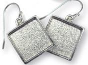 Silver Plated Square Cabochon Earrings - 4 Pair