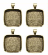 2.5cm Square Silver Plated Deep Pendant Plates - 4 Pack