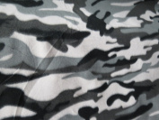 Grey Camouflage Fleece 150cm Fabric By the Yard