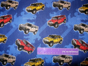 110cm Wide General Motors HUMMER SUV Cotton Fabric BY THE HALF YARD