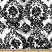 100% Polyester Satin Charmeuse Damask Black & White 150cm Wide Fabric By the Yard