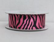 Fuchsia Zebra Print Satin Ribbon 2.2cm Wide