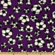 Sports Fleece Soccer Balls Purple Fabric