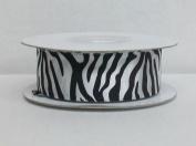 White Zebra Print Satin Ribbon 2.2cm Wide