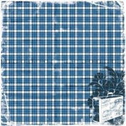 Heartfelt Travel Blue Plaid Fabric Paper | TPC Studio
