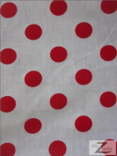 BIG POLKA DOT POLY COTTON PRINT FABRIC - White/Red Dots - SOLD BTY POLYCOTTON