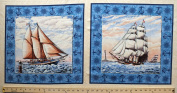 46cm x 110cm PANEL Ancient Mariners Quilting Pillow Panel Cotton Fabric Panel as Shown