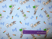 110cm Wide Bugs Bunny What's Up Doc. Blue Cotton Fabric BY THE HALF YARD
