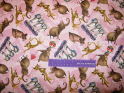 110cm Wide Madagascar 3 Circus Pink Cotton Fabric BY THE HALF YARD