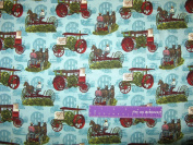 110cm Wide Vintage Tractors Teal Cotton Fabric BY THE HALF YARD