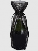 10x Black Bottle & Wine Organza Favour Gift Bags 17cm x 38cm