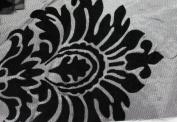 DAMASK FLOCKED TAFFETA FABRIC 150cm /150cm WIDE BY THE YARD GREY/BLACK
