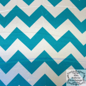 Turquoise Chevron Satin Charmeuse 150cm Wide Fabric By The Yard