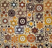 Tossed Stars Jewish Fabric - Beige