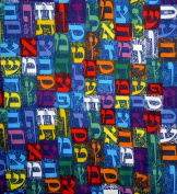 Aleph Bet Jewish Hebrew Letters Fabric - Navy