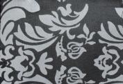 DAMASK FLOCKED TAFFETA FABRIC 150cm /150cm WIDE BY THE YARD BLACK/WHITE