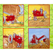 Tractor Mac Pillow Panel Green Fabric