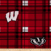 University of Wisconsin Fleece Plaid Red Fabric