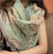 Charm Fashion Clock Voile Shawl Pattern Scarf Wrap for Ladies Girls Christmas Gifts