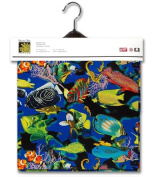 Tropical Fish Lined Fabric 1yd by 140cm Wide Fish 100% Cotton Material Lined on Underside For Sewing Projects like Tablecloths, Tablecovers, Aprons - Top Rated Quality 22% more FABRIC than 110cm width