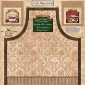 70cm X 110cm Cotton Panel - Cafe Americano Apron Panel Multi Coffee Cotton Fabric Panel