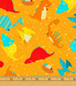 Cotton Classic Jurassic Dino Toss Orange Dinosaurs Kids Cotton Fabric Print by the Yard