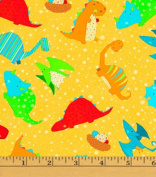 Cotton Classic Jurassic Dino Toss Yellow Dinosaurs Kids Cotton Fabric Print by the Yard