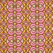 Amy Butler Midwest Modern Pink Dahlia Garden Maze Brown, 43-inch (109cm) Wide Cotton Fabric Yardage