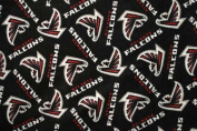 NFL Atlanta Falcons Football Print Fleece Fabric By the Yard