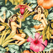Pin up women fabric with big flowers by Alexander Henry