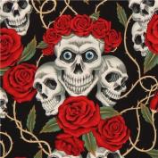 black Alexander Henry fabric roses and white skulls