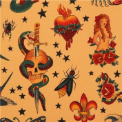 caramel Alexander Henry fabric with tattoo paintings