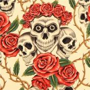 beige Alexander Henry roses and skulls fabric