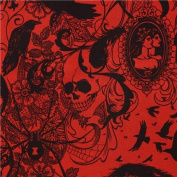 dark red raven spider skull fabric by Alexander Henry USA